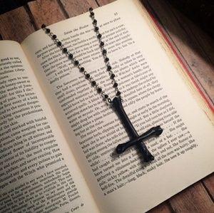 Jewelry - Black inverted cross necklace animal bone oddities